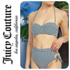 Juicy Couture Gingham Seersucker Bikini, XL - NWT